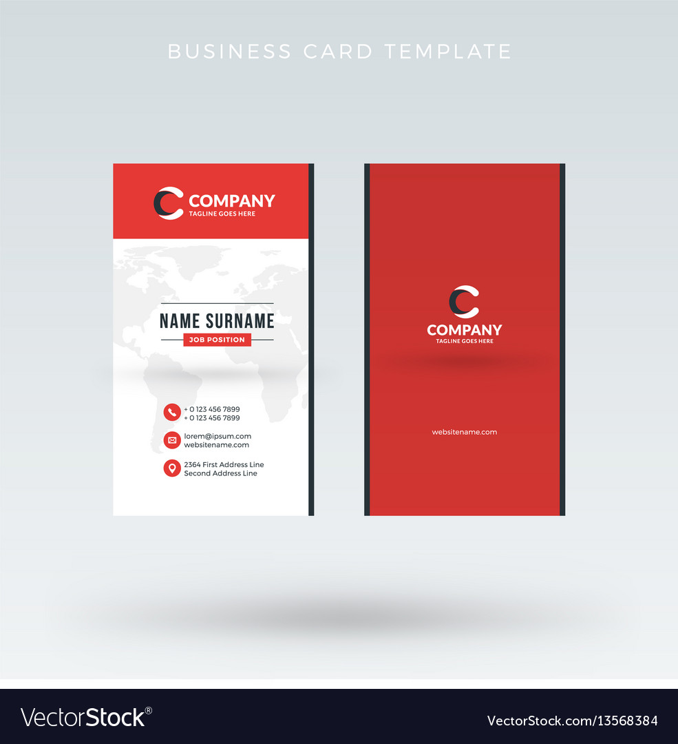 Modern creative vertical red business card vector image fbccfo Choice Image