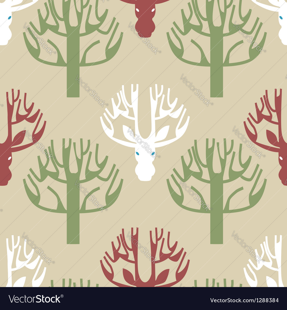 Tree and deer print vector image
