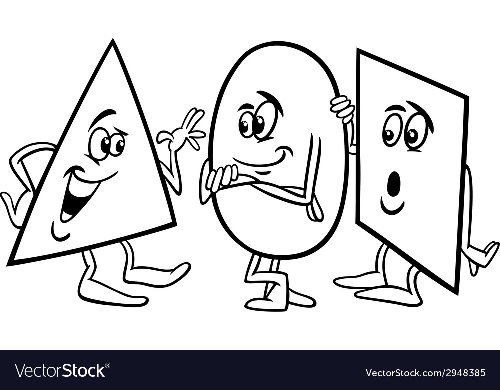 Basic shapes cartoon coloring page vector image