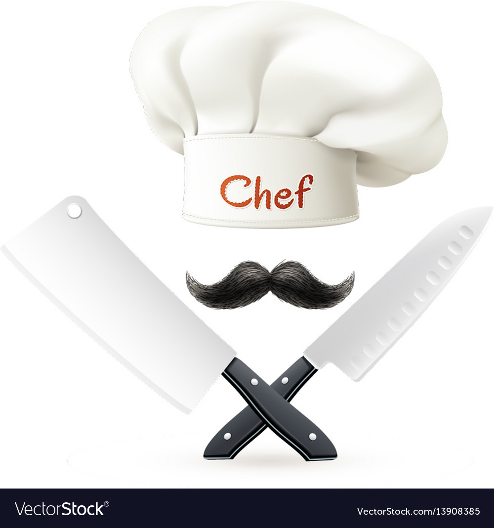 Hat of chef mustache and knives vector image
