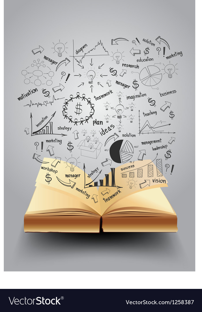 Book with drawing business strategy plan concept vector image