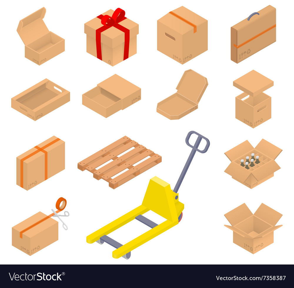 Collection of isometric cardboard boxes vector image