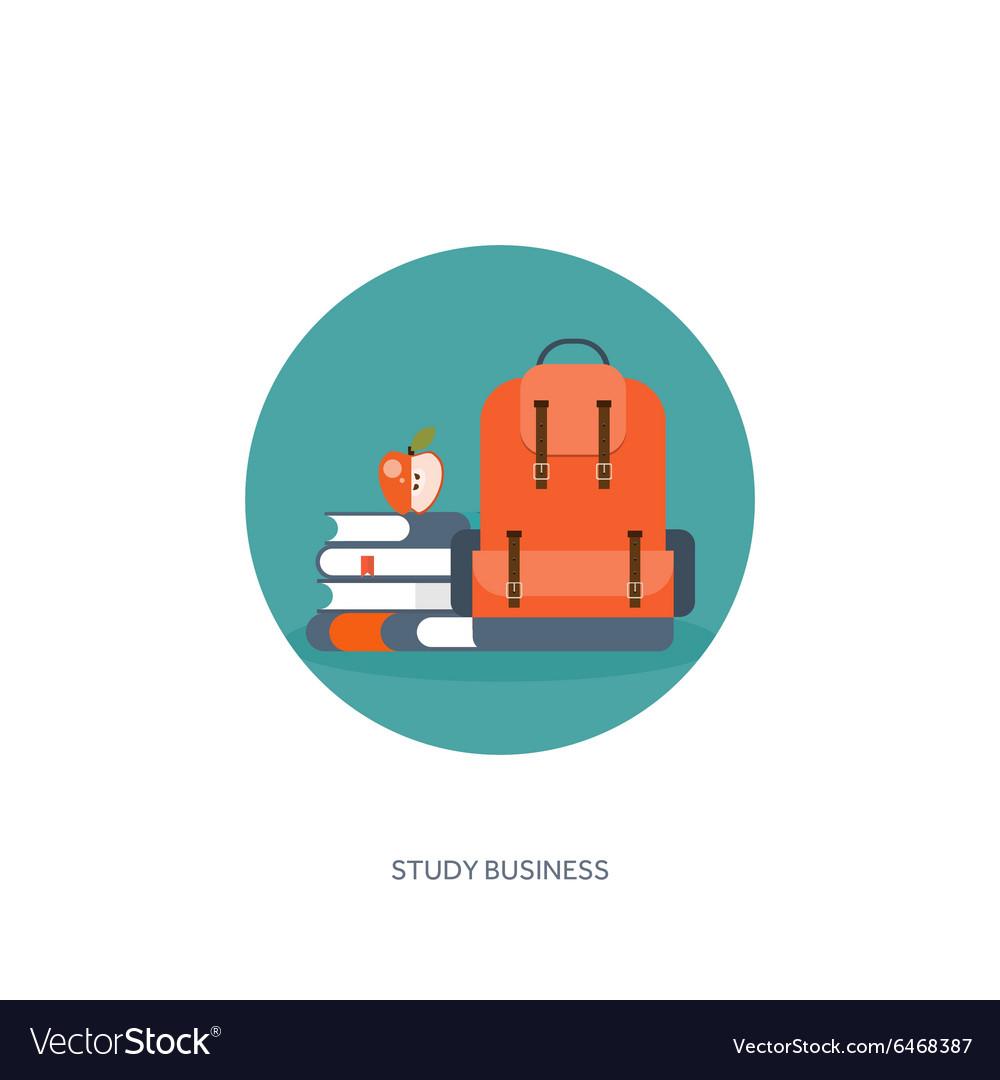 Flat school backpack Study vector image