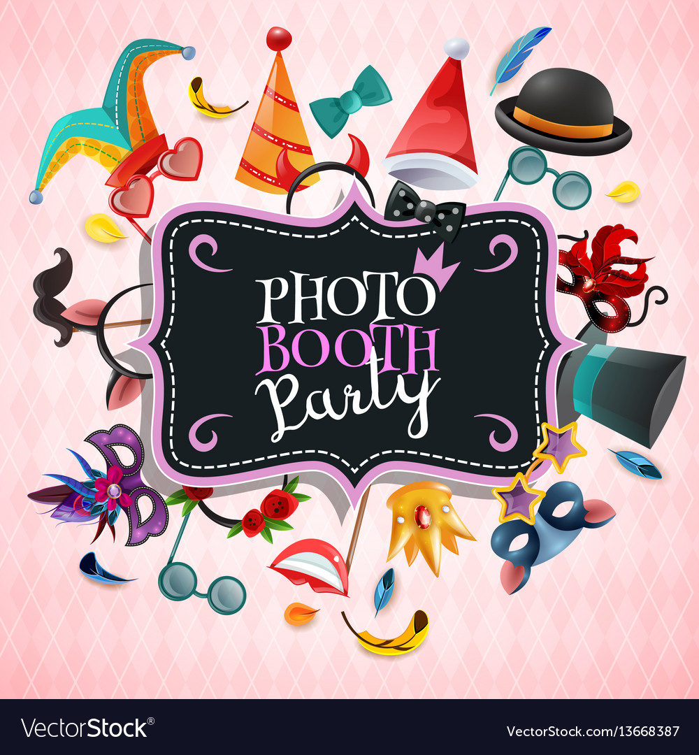 Photo booth party background vector image