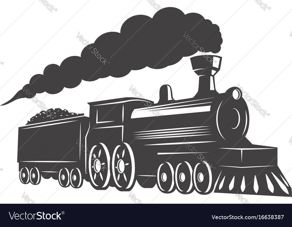 Vintage train isolated on white background design vector image
