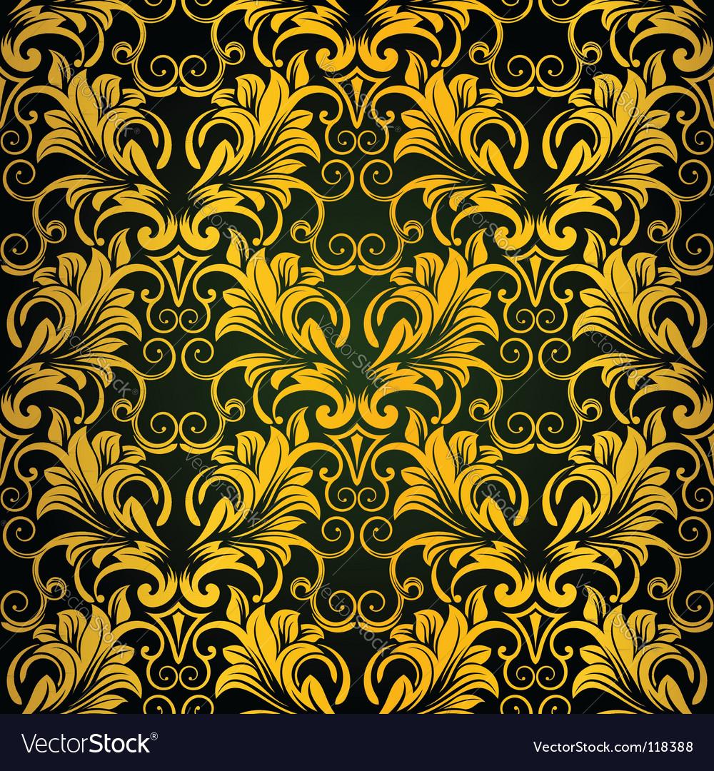 Gold seamless wallpaper vector image