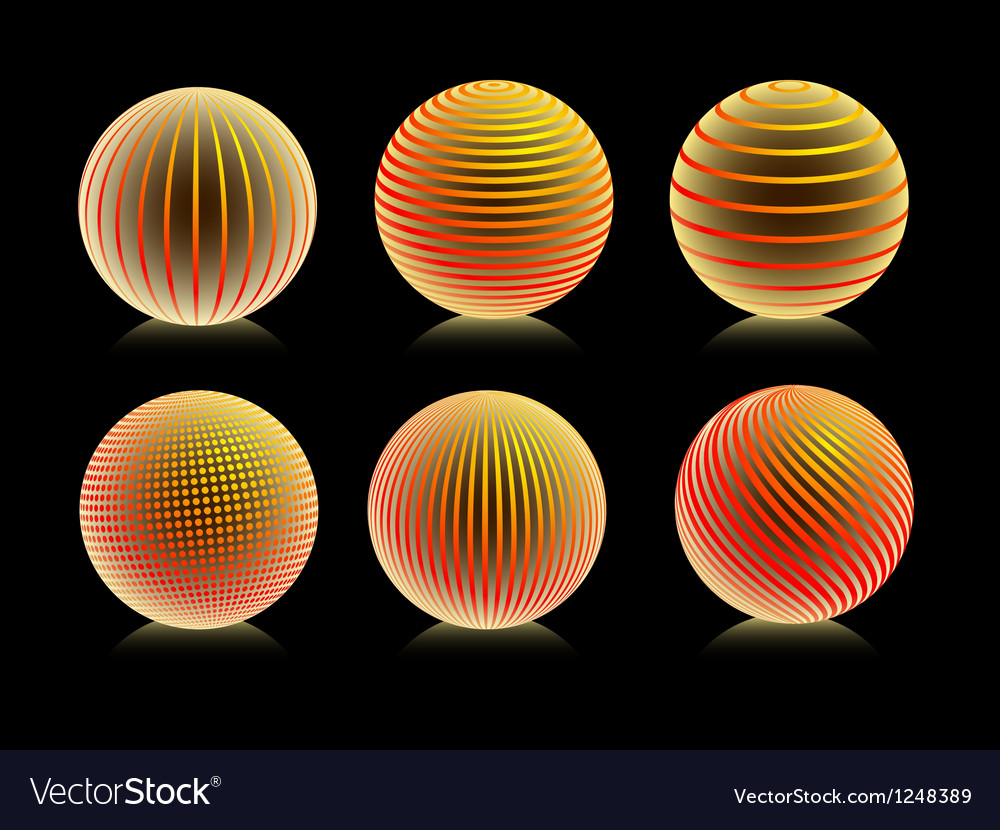 Striped orange ball logo vector image