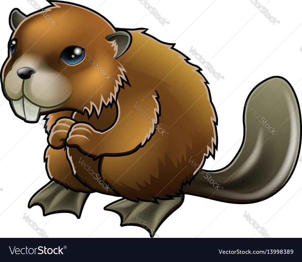 Cute beaver vector image