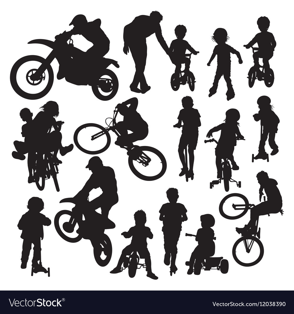 Silhouettes of a Motocross Bike and Scooter Play vector image