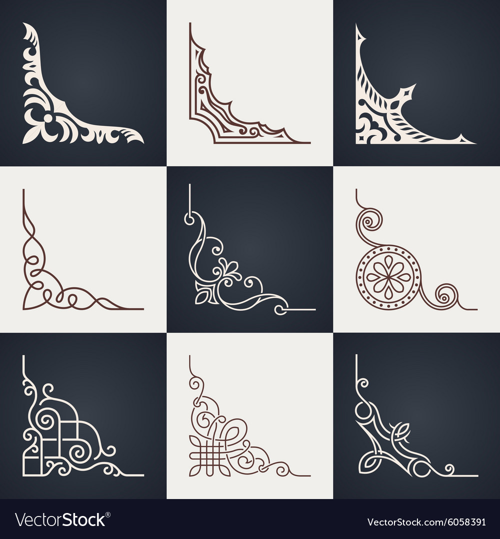 Calligraphic design elements Vintage corners set vector image