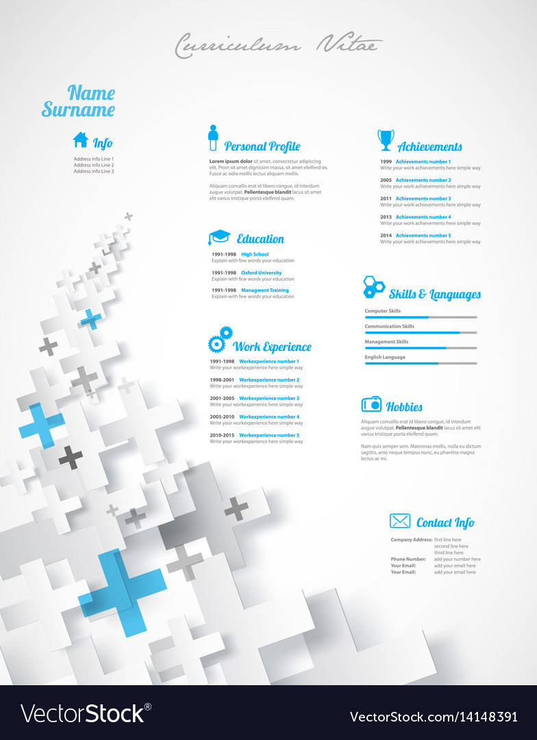 creative turquoise color cv resume template vector image - Resume Template Color