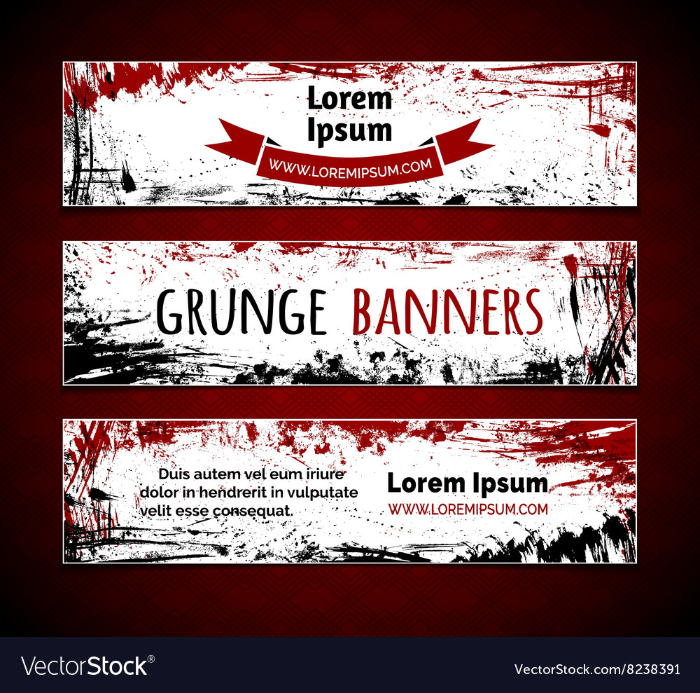 Set of grunge ink horizontal banners vector image
