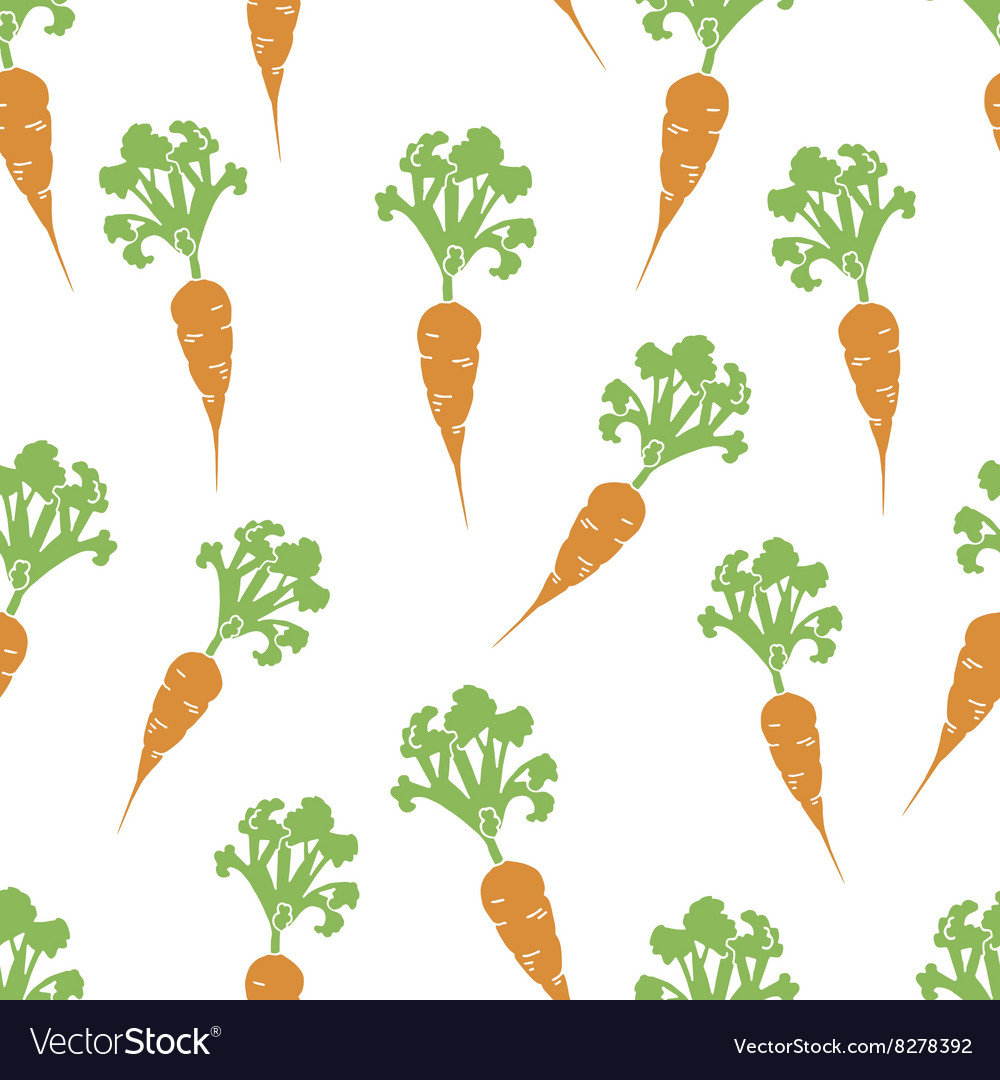 Carrot hand drawn seamless pattern vector image