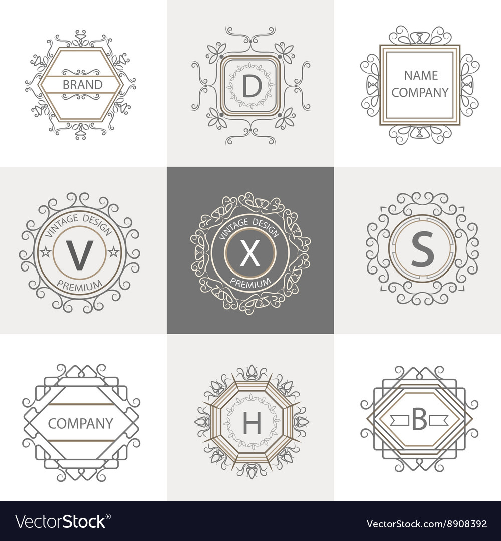 Set logos business signs ornament vector image