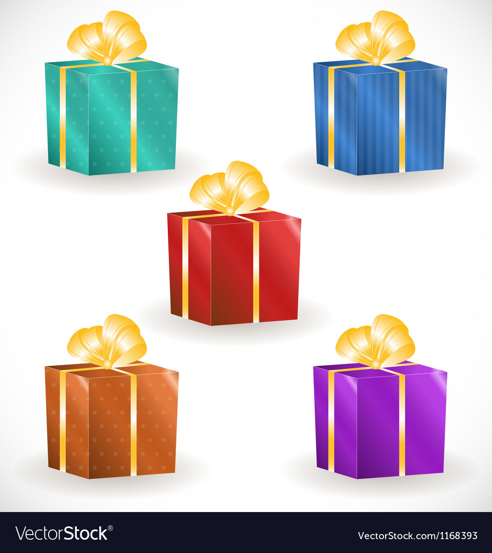 Gift boxes with gold ribbons vector image