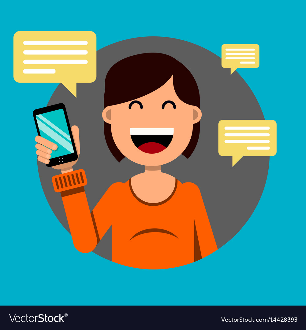 Smiling girl holding a smartphone in her hand for vector image