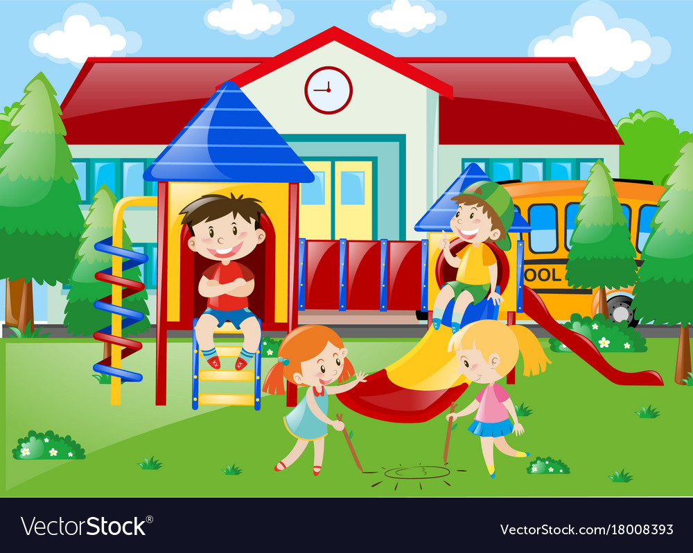 Students playing at playground in school park vector image