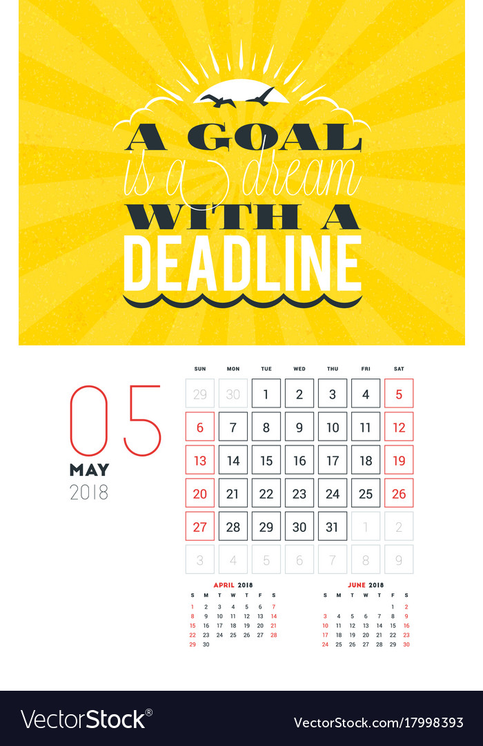 May 2018 Free Pdf Magazine Download: Wall Calendar Template For May 2018 Design Print Vector Image