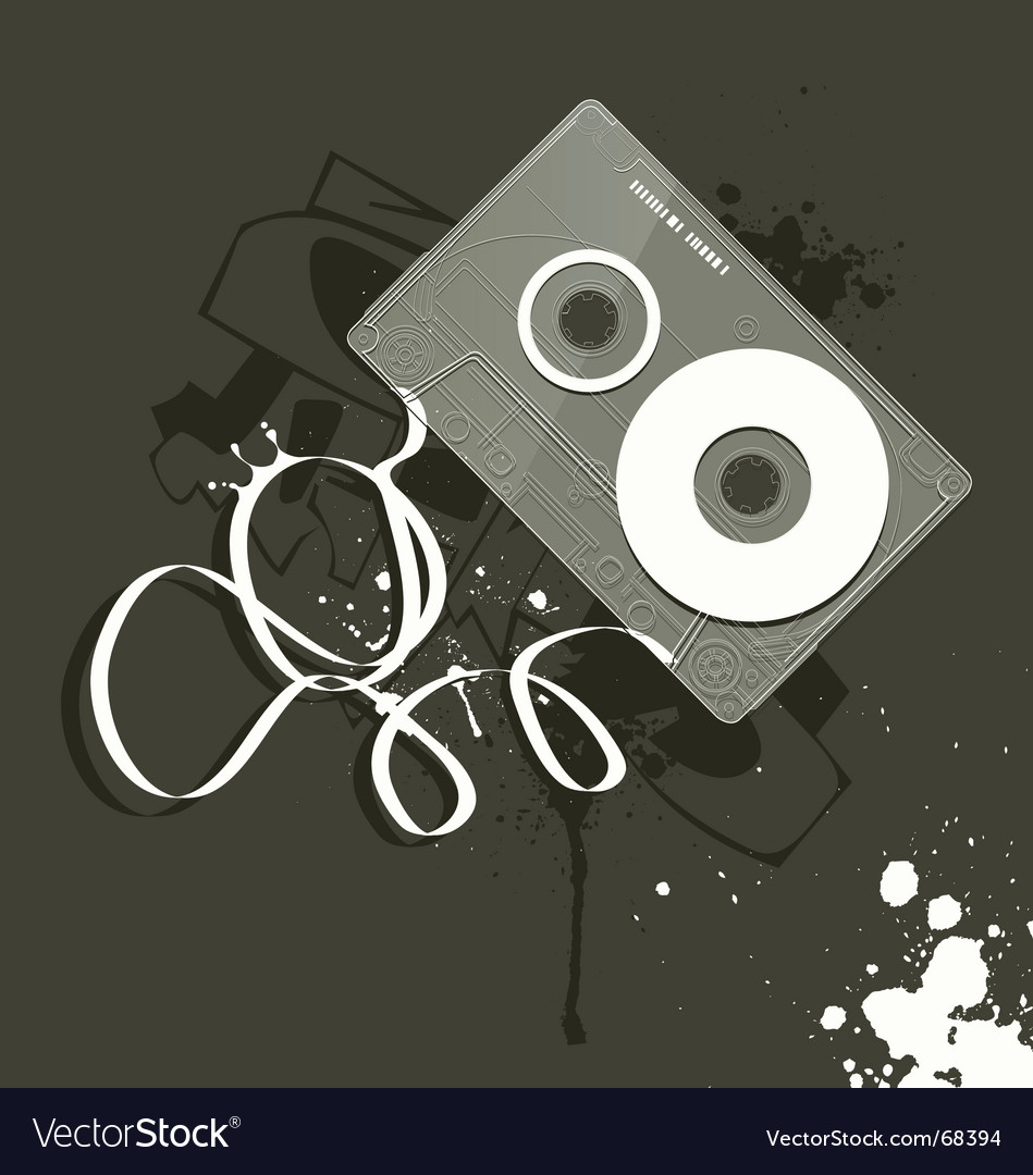 Cassette grunge style of music vector image