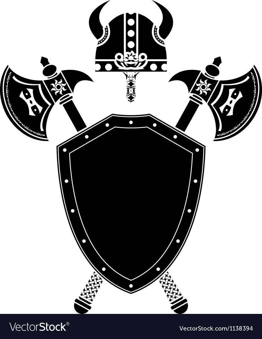 shield axes and viking helmet royalty free vector image