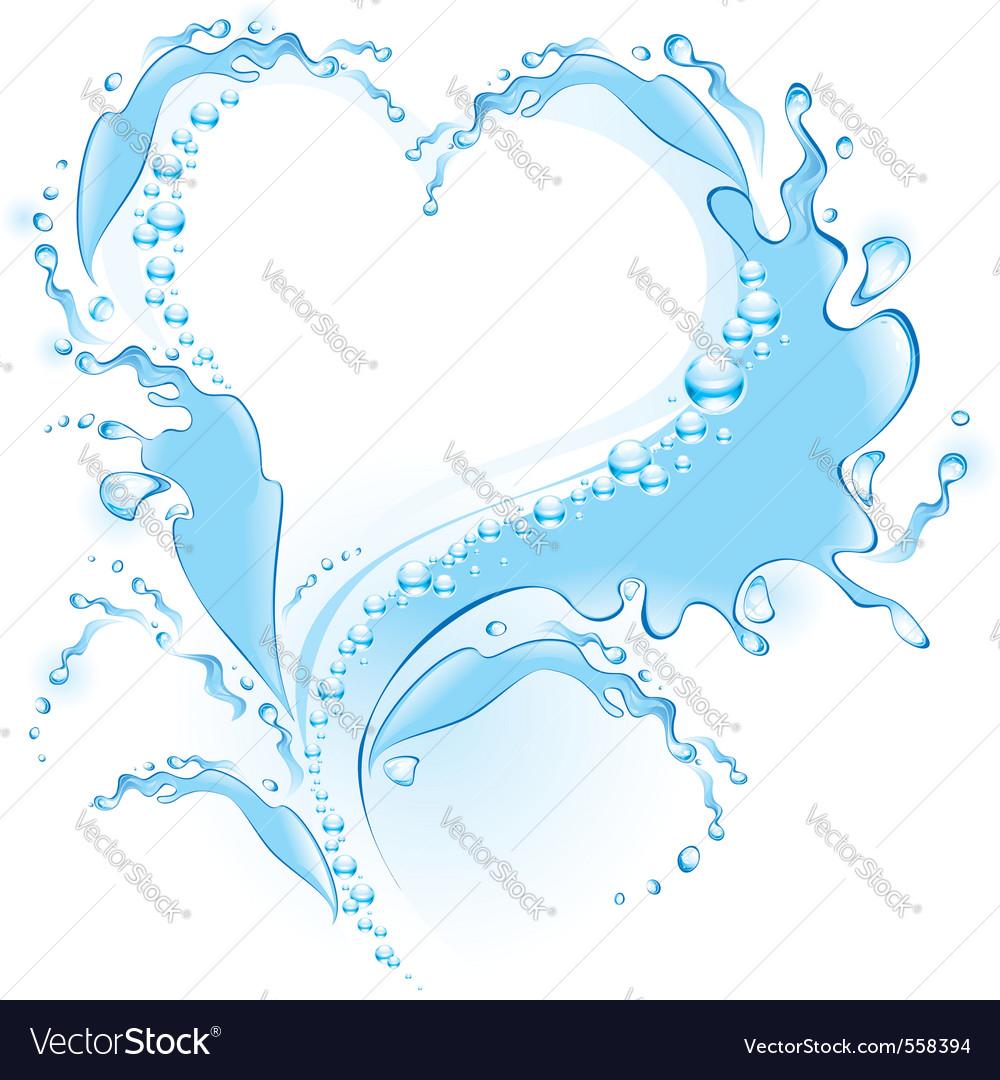 Splash heart vector image