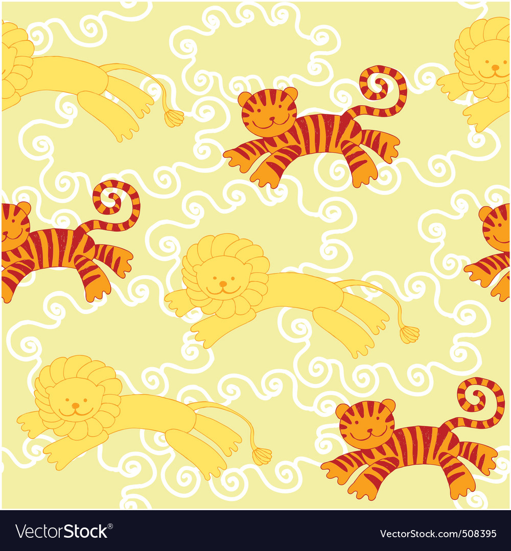 Lion tiger pattern vector image