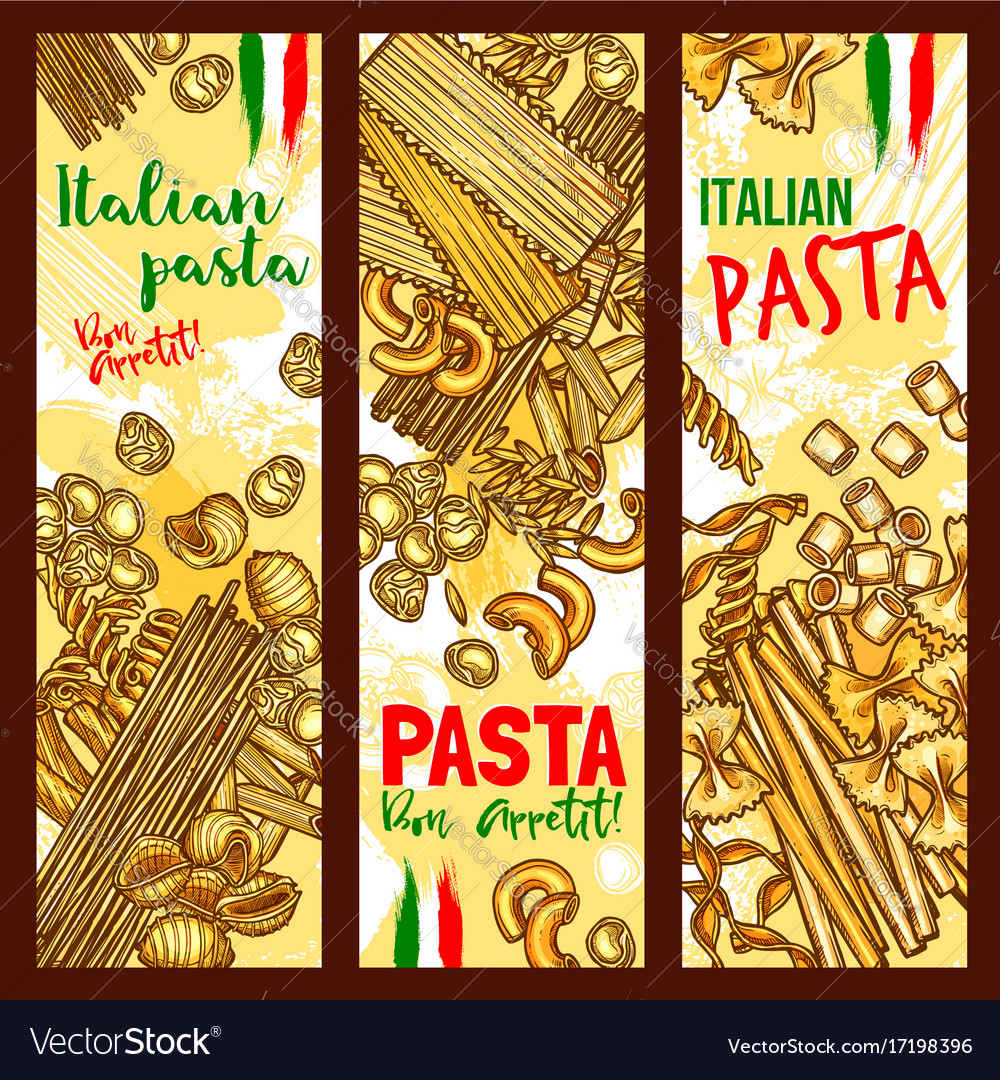 Pasta and italian macaroni banners vector image