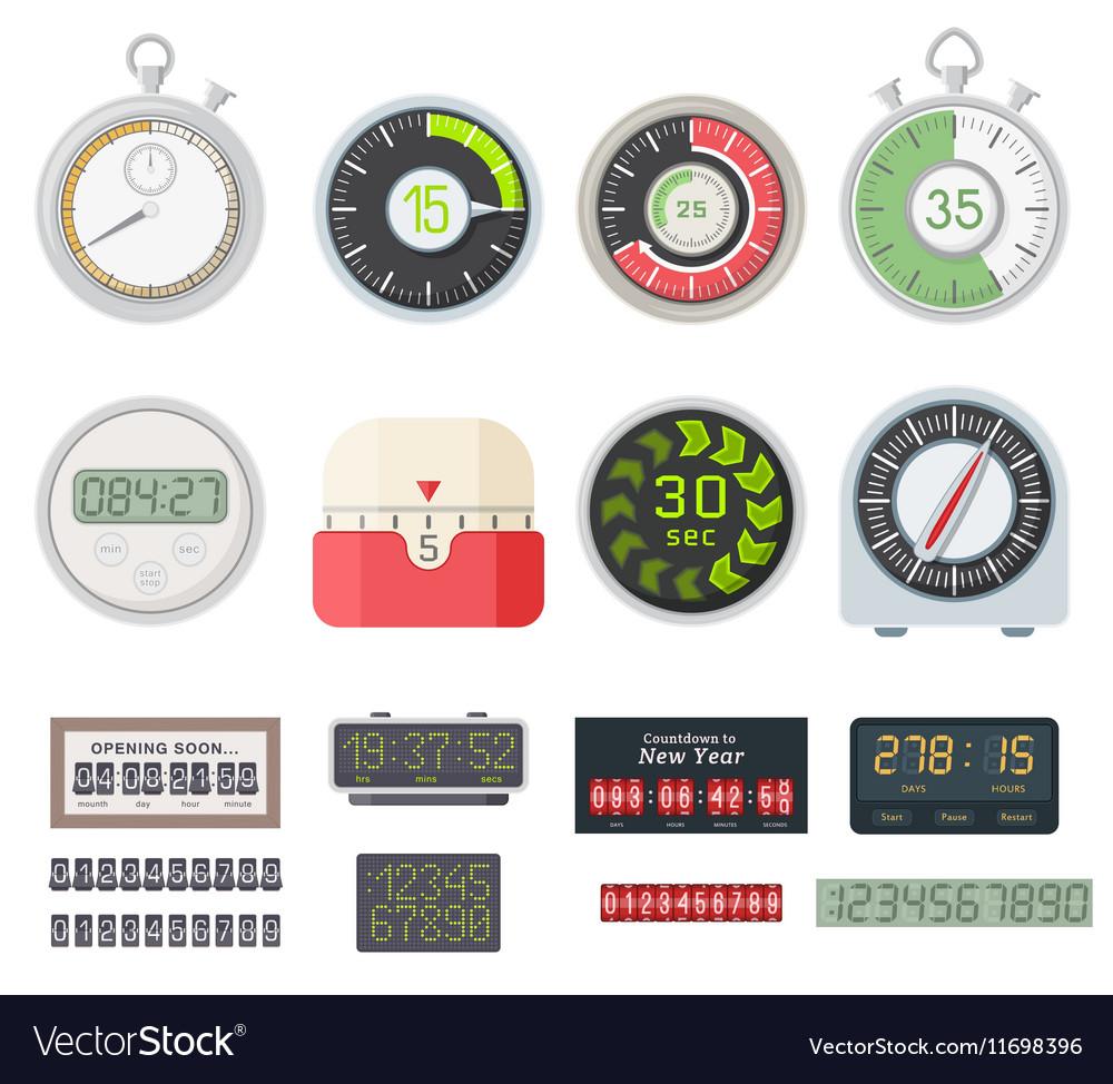 Timer clocks set vector image