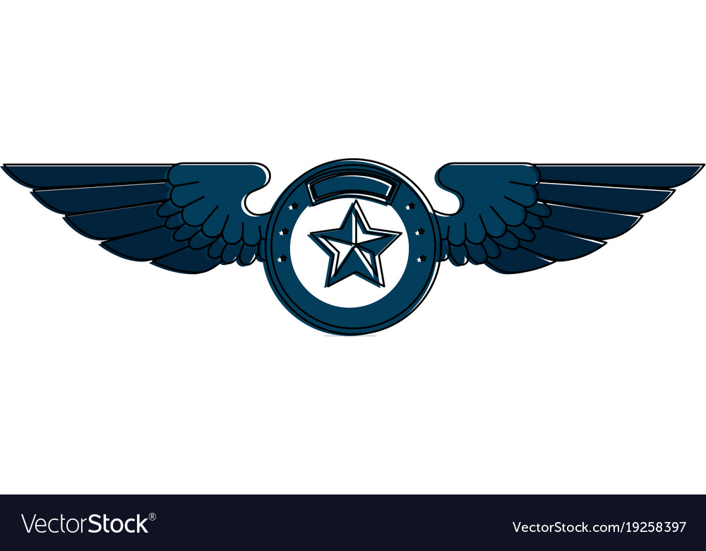 Wings emblem with star royalty free vector image wings emblem with star vector image biocorpaavc Choice Image