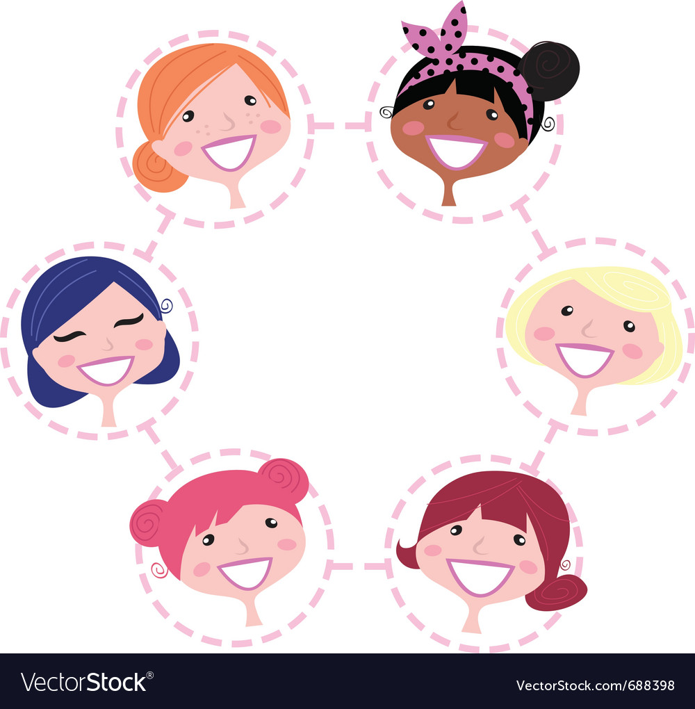 Multicultural network group vector image