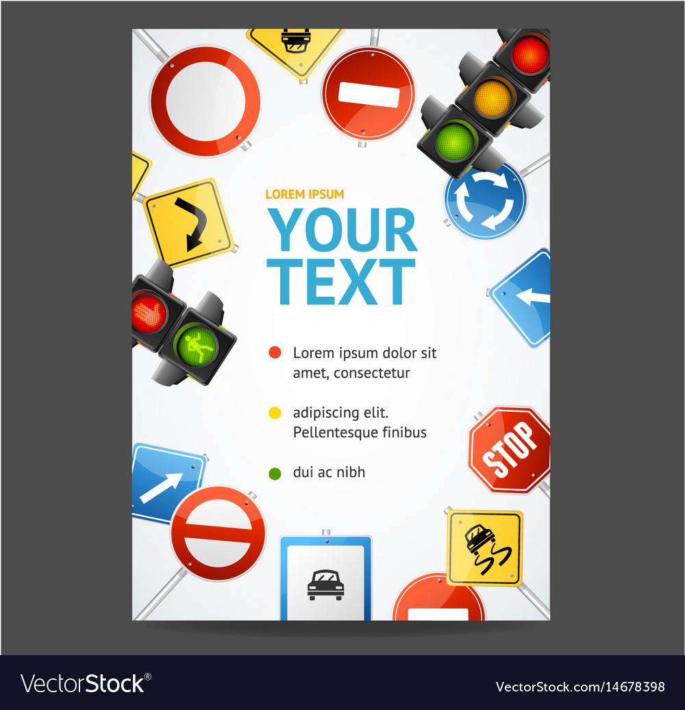 Road sign flyer banner posters card vector image