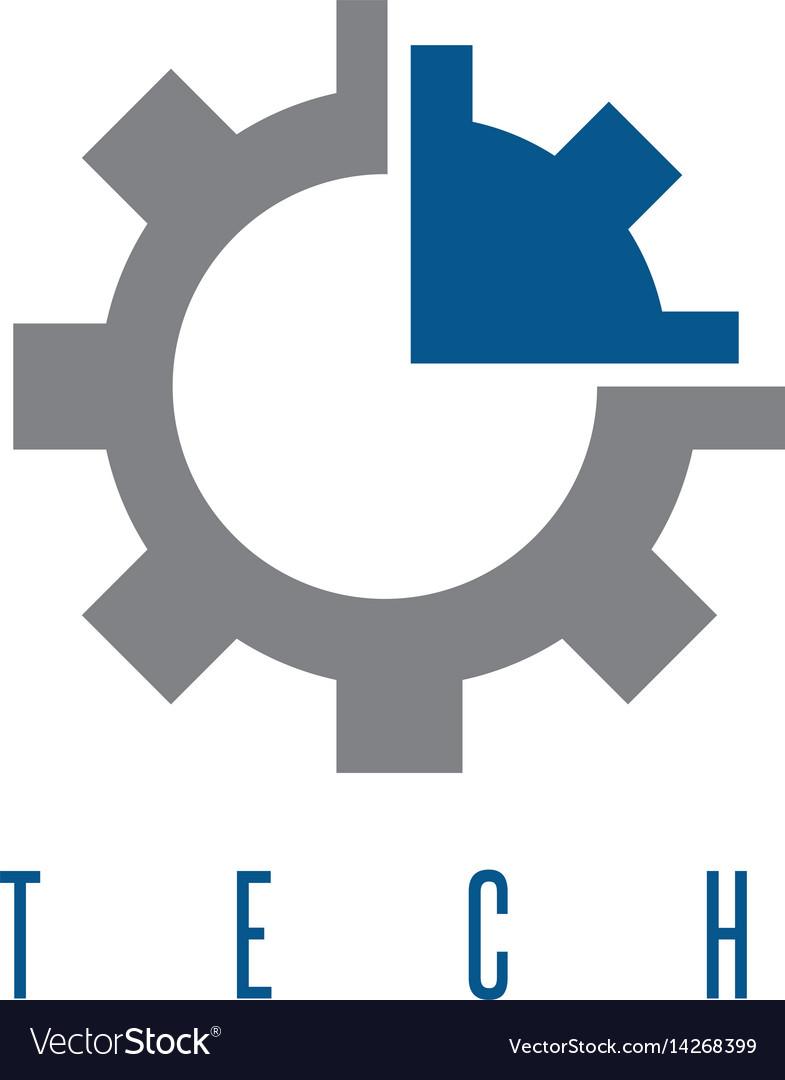 Gear with arrow tech concept design template vector image