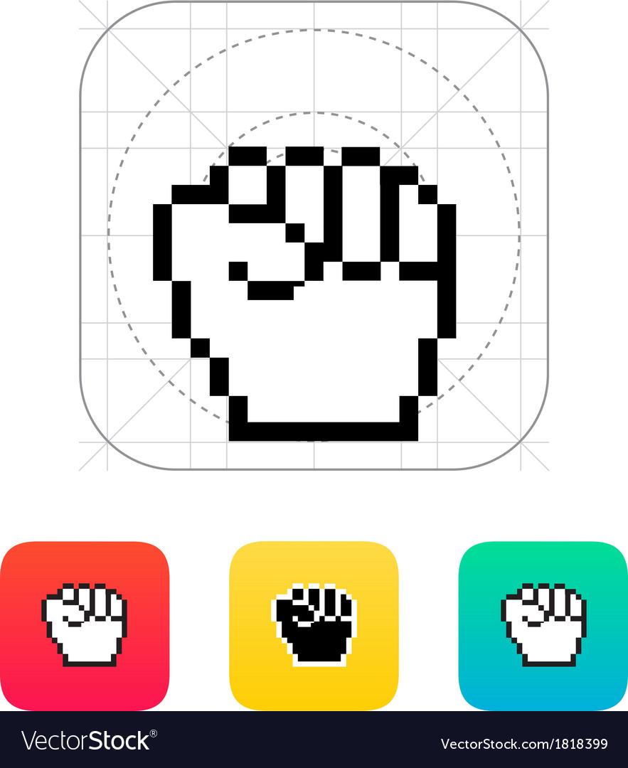 Pixel fist icon vector image