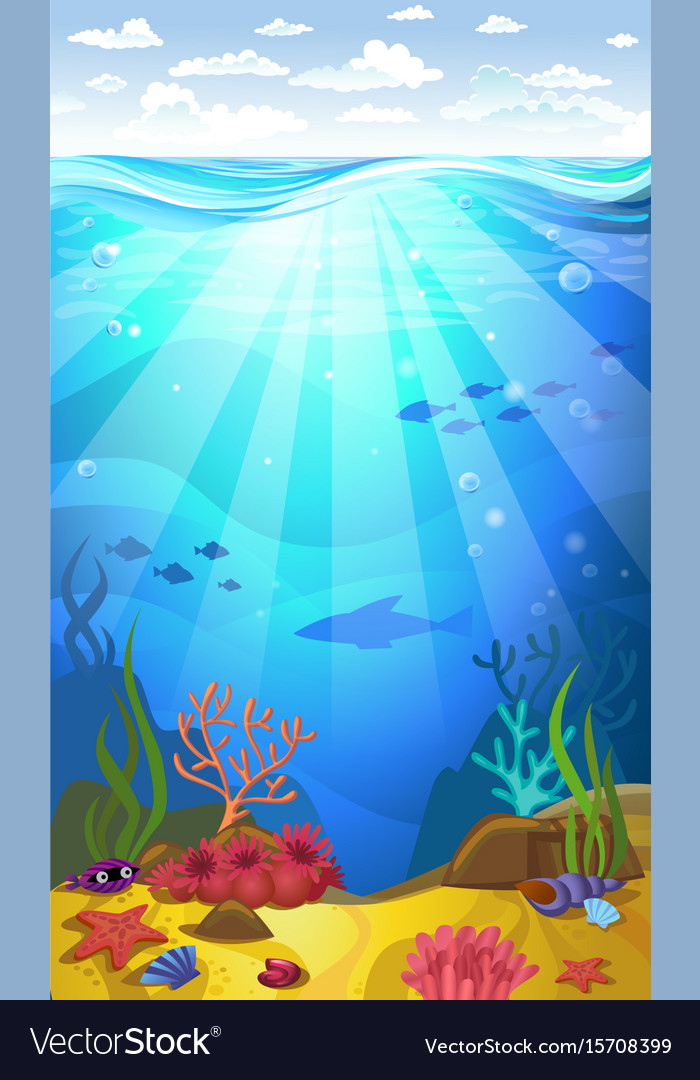 Underwater- seabed with corals vector image