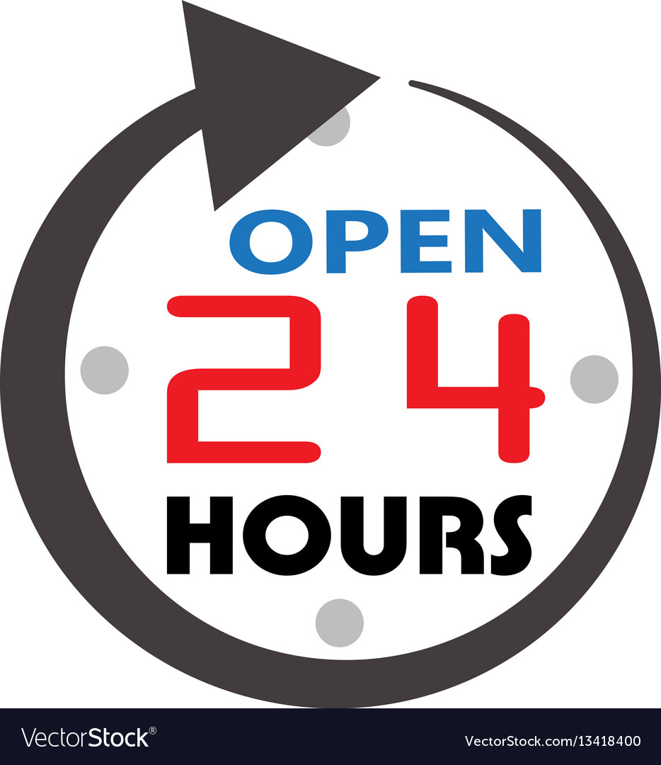 24 hour service open 24 hours icon 24 hours open vector image