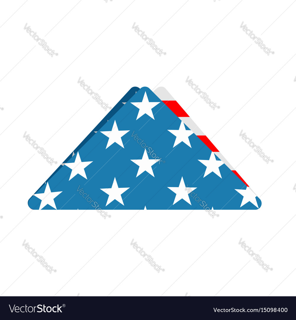 Folded us flag triangle symbol of mourning vector image