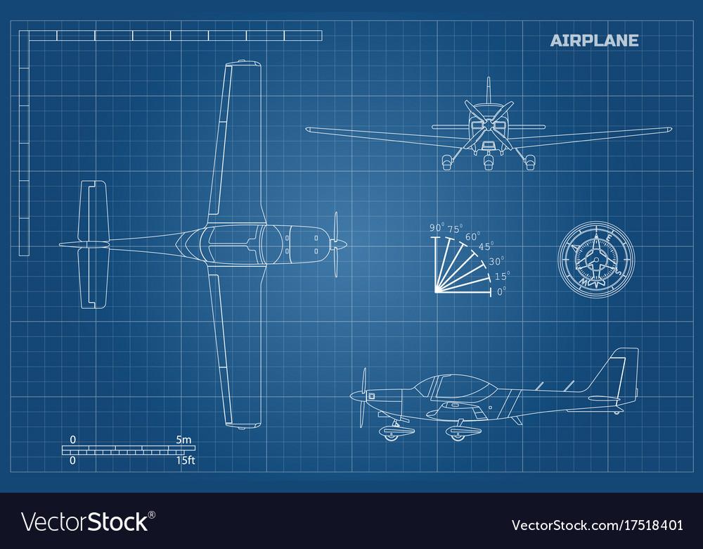 Engineering blueprint of plane sport airplane vector image malvernweather Choice Image