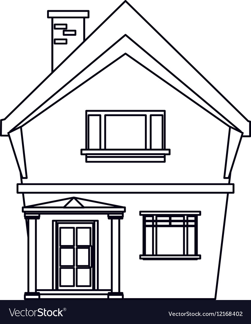 House outline picture - American House Domestic Chimney Outline Vector Image