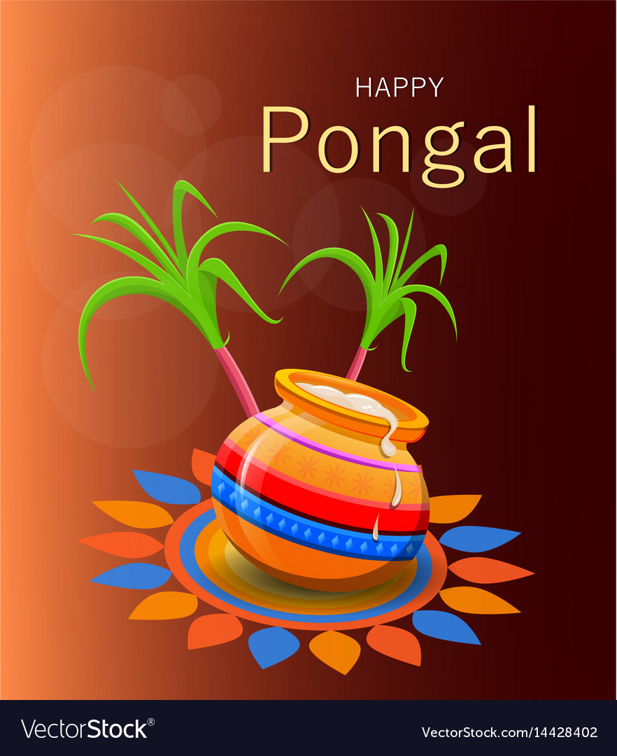 Happy pongal greeting card on brown background vector image m4hsunfo