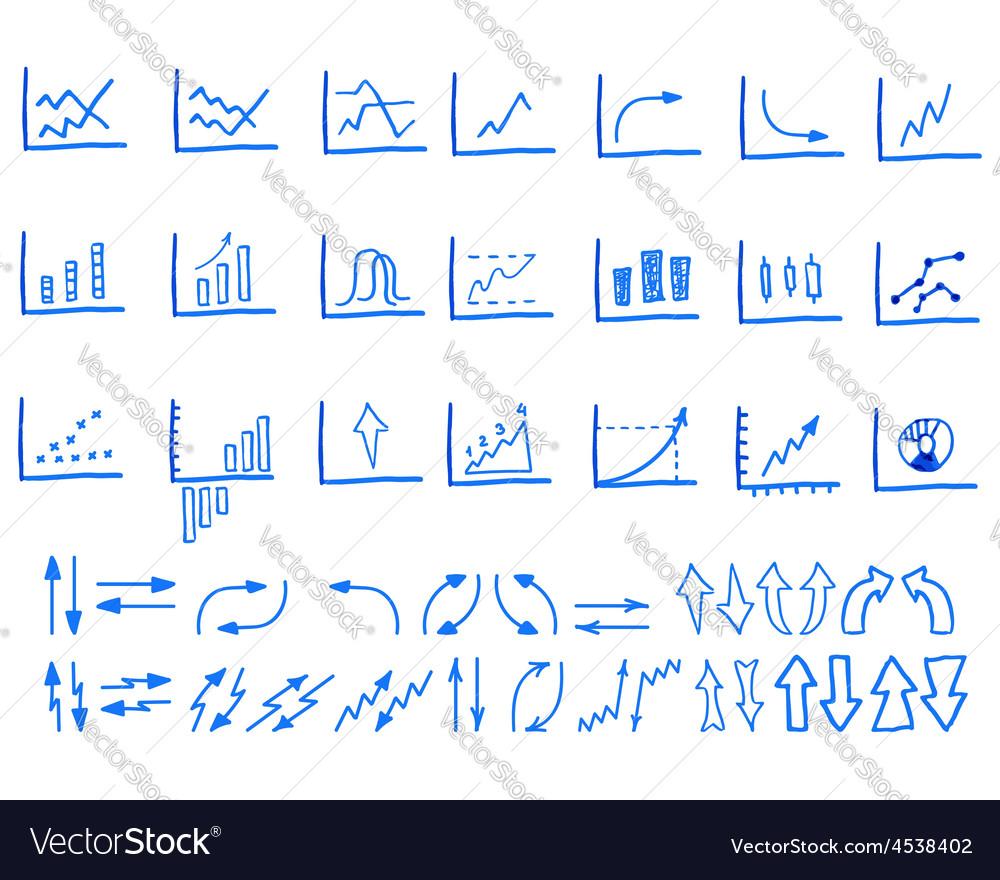 Set of doodle sketched hand drawn business vector image