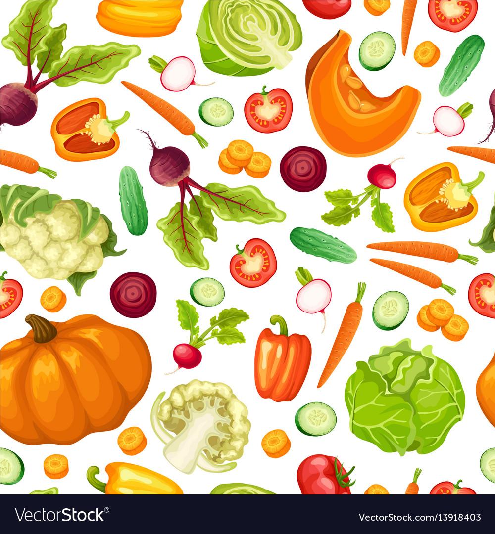 Cartoon fresh vegetables seamless pattern vector image