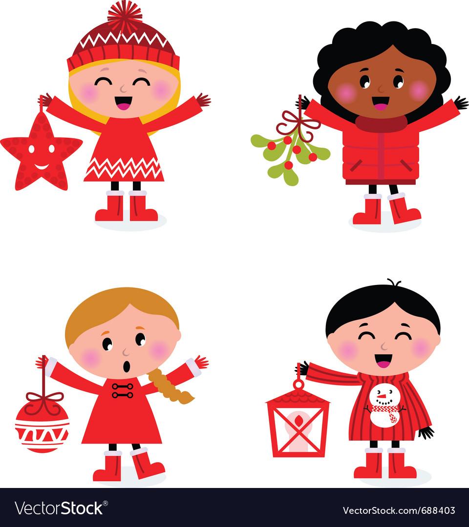 Christmas kids collection vector image