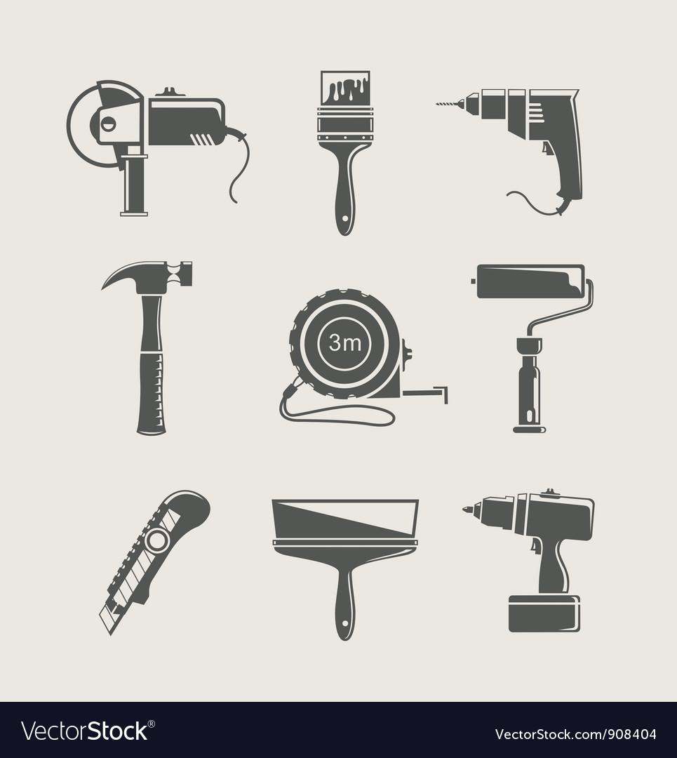 Building tool icon set vector image