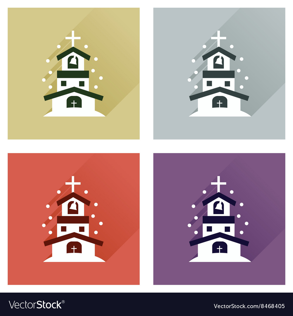 Concept of flat icons with long shadow Catholic