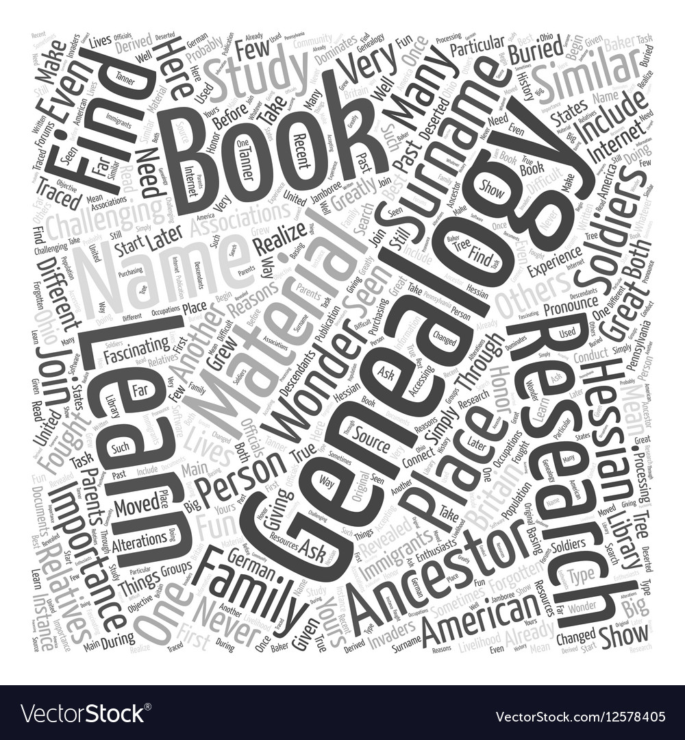 Genealogy book Word Cloud Concept vector image