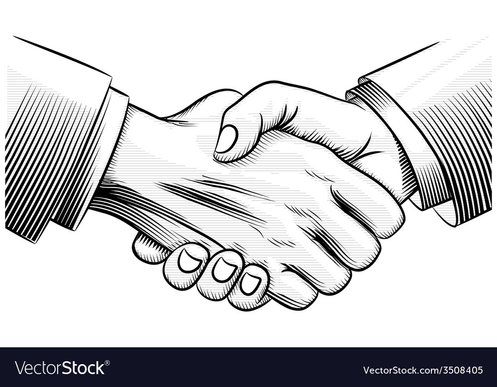 Sketch handshake vector image