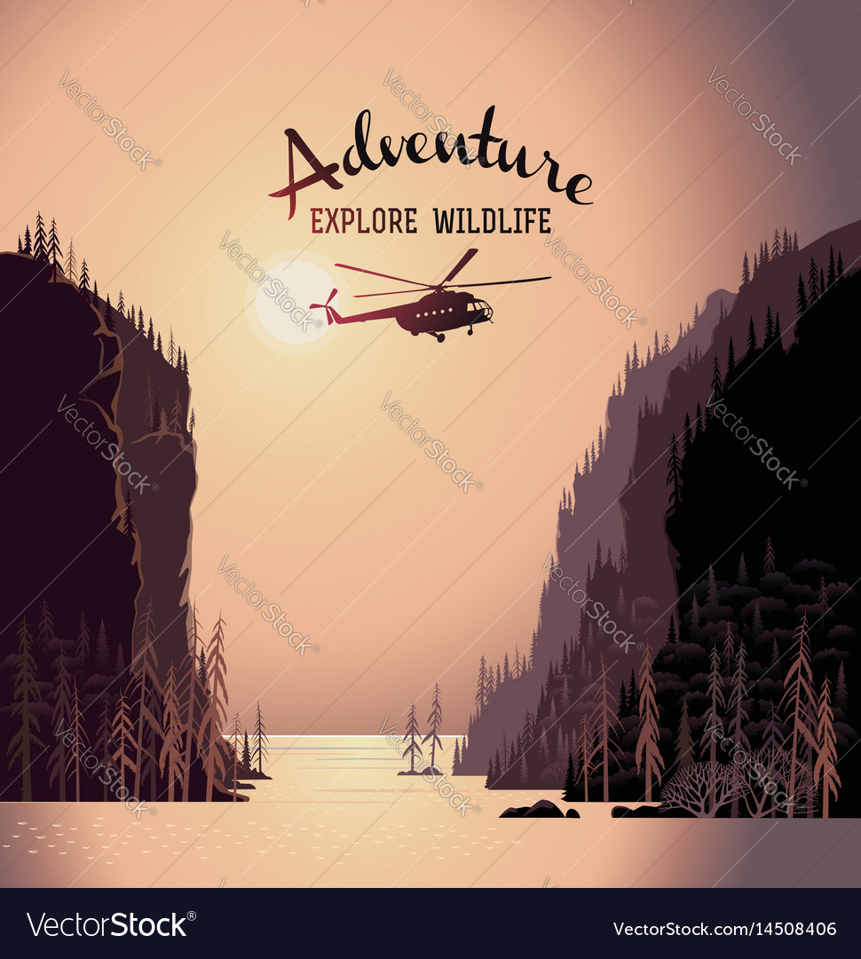 Mountain landscape from lakes and design element vector image
