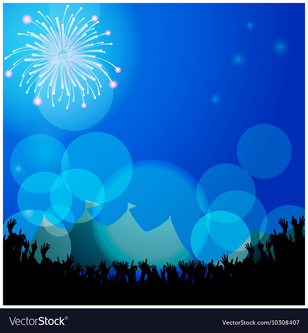 Festival tends and crowd with firework vector image