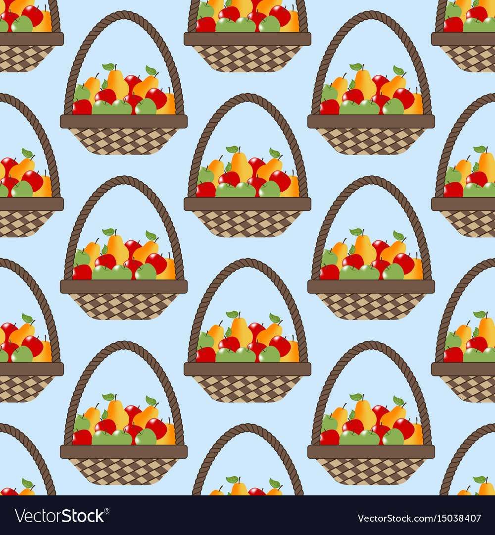 Fruit apple pear basket pattern vector image