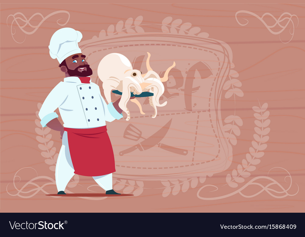 African american chef cook hold octopus smiling vector image
